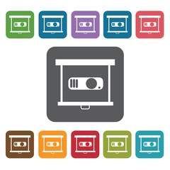 Projector icon. Cinema movie icons set. Rectangle colourful 12 b