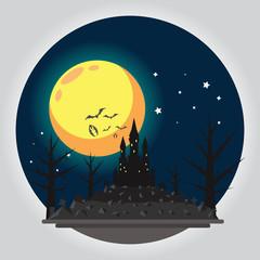 Flat design halloween castle illustration