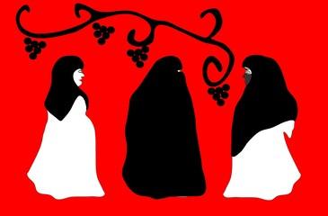 Three beautiful women in veil