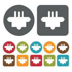 3 small pin plug icon. Electric plug icon set. Round and rectang