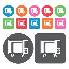 Old fashioned television icon. Electronic devices icons set. Rou