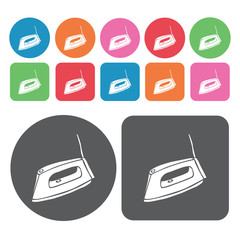 Iron icon. Electronic devices icons set. Round and rectangle col