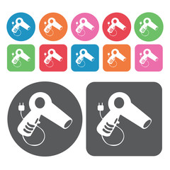Hair blower icon. Electronic devices icons set. Round and rectan