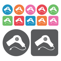 Hair dryer icon. Electronic devices icons set. Round and rectang