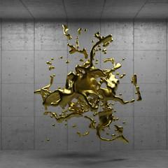 Geschmolzenes Gold schwebt im Raum