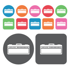 Amplifier icon. Electronic devices icons set. Round and rectangl