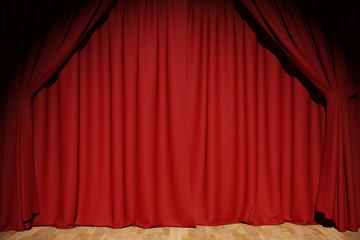 Roter Vorhang auf Bühne