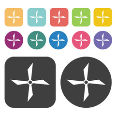 Propeller with four angular blades icon. Fan icon set. Round and