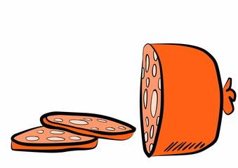 doodle sliced salami