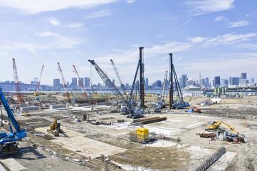 豊洲新市場の工事風景