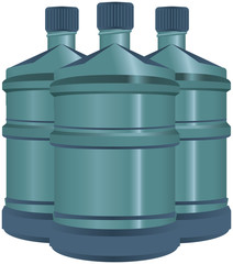 Set of plastic water bottles