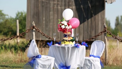 Table with decoration stuff for wedding or love story