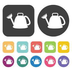 Watering Can icon. Farming icon set. Round and rectangle colourf