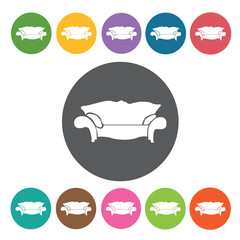 Sofa icon. Furniture home icon set. Round colourful 12 buttons.