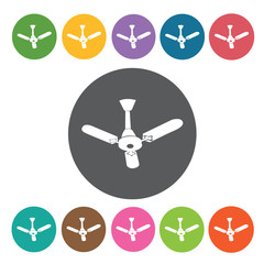Ceiling Fan icon. Furniture home icon set. Round colourful 12 bu