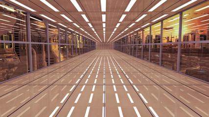 Futuristic corridor interior and city