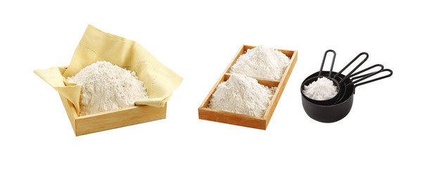 natural flour from grain on white background