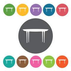 Table icon. Furniture home icon set. Round colourful 12 buttons.