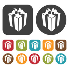 Tall gift box  icon. Gift box icons set. Round and rectangle col