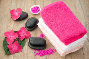 Spa concept (zen stones, hortensia flower and towel)