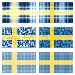 Mosaic Sweden flag set