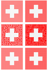 Mosaic Switzerland flag set