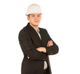 Confident Young Engineer in Black Coat