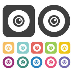 Eye ball icon. Human organ icons set. Round and rectangle colour
