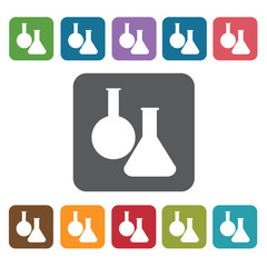 Flask icon. Medical icons set. Rectangle colourful 12 buttons. V