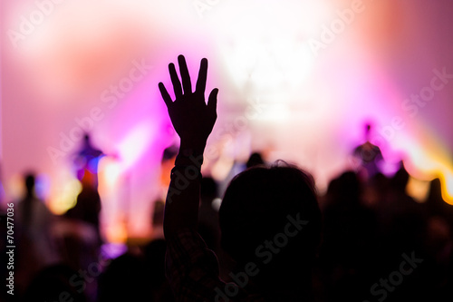 christian music concert with raised hand poster