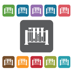 Test tube rack icon. Medical icons set. Rectangle colourful 12 b