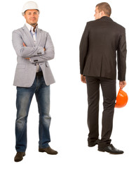 Two Male Middle Age Engineers on White Background