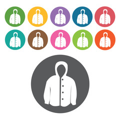Hoodie jacket icon. Mens clothes icons set. Round colourful 12 b