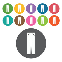 Pants icon. Mens clothes icons set. Round colourful 12 buttons.