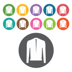 Sweater icon. Mens clothes icons set. Round colourful 12 buttons