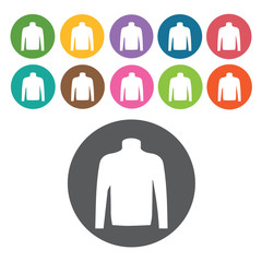 Turtle neck icon. Mens clothes icons set. Round colourful 12 but