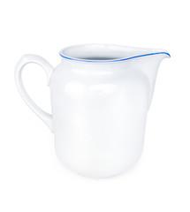 White ceramic pitcher isolated on white background