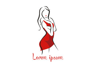 Fashion woman in a red dress logo vector illustration