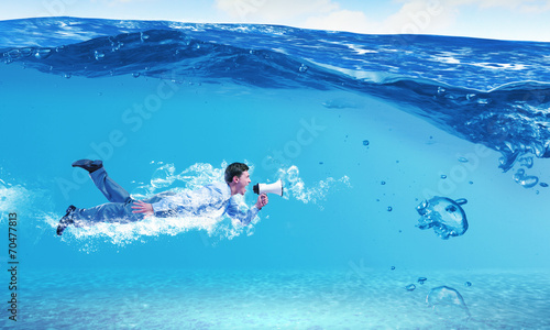 canvas print picture Swimming businessman