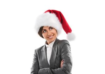 Christmas Santa hat isolated woman