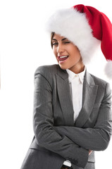 Christmas Santa hat isolated woman