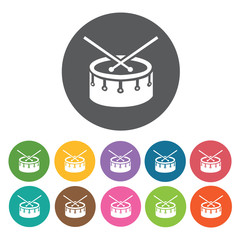 Drums icon. Music equipment icon set. Round colourful 12 buttons