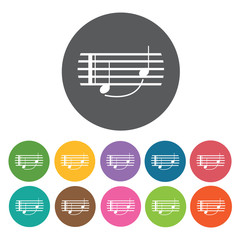 Quarter notes on staff icon. Music equipment icon set. Round col