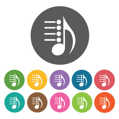 Eight note and staff icon. Music equipment icon set. Round colou
