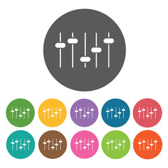 Equalizers icon. Music equipment icon set. Round colourful 12 bu