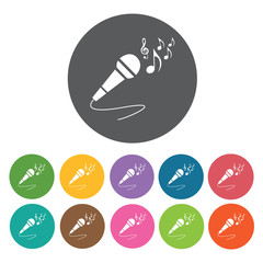Microphone with musical notes icon. Music equipment icon set. Ro
