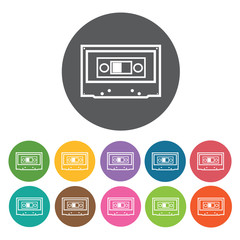 Cassette tape icon. Music equipment icon set. Round colourful 12