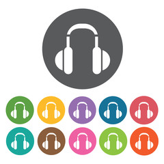 Headphones icon. Music equipment icon set. Round colourful 12 bu