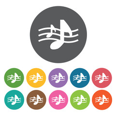 Musical notes in staff icon. Music equipment icon set. Round col