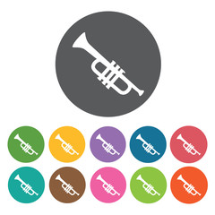 Trumpet icon. Music equipment icon set. Round colourful 12 butto